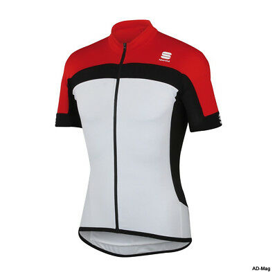 Maillot Vélo Homme - SPORTFUL Pista Longzip Jersey - Blanc/Rouge - T. L/XL -NEUF