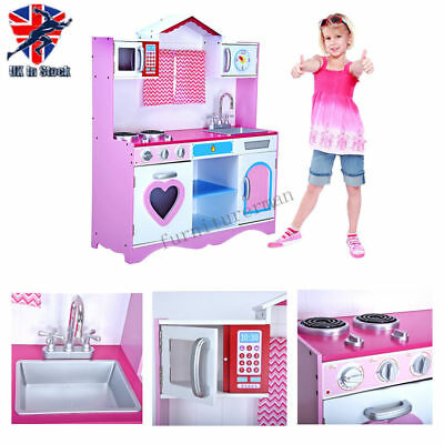 Large Girls Kids Pink Wooden Play Kitchen Toy Cooker Play Set Role Play Pretend