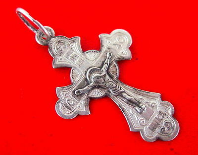 CROSS Silver Antique Jesus Christ, Russian Orthodox Russia, Sterling, Rare
