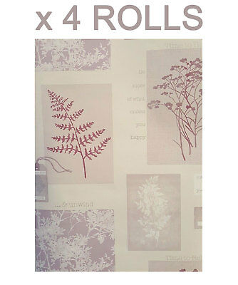 Plum Quotes Wallpaper Trees Flowers Collage Phrases Heavyweight 4 Roll Deal
