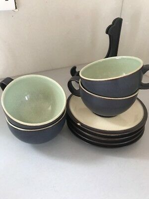 Denby Energy Breakfast Cup And Saucer X 4 A/F