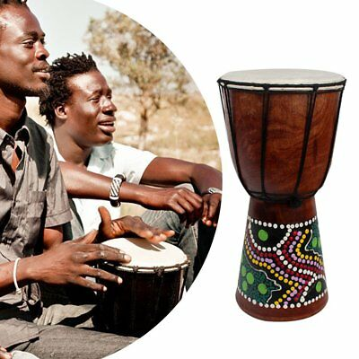 6 Inch African Djembe Percussion Mahogany Hand Drum with Goat Skin Surface WS