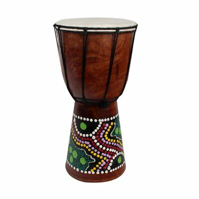 4 Inch African Djembe Percussion Mahogany Hand Drum with Goat Skin Surface WS