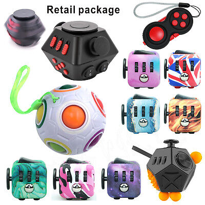 Fun Fidget 6 Sided Cube Adult Anxiety Stress Relief Cube Pad Toys Xmas Gift ADHD