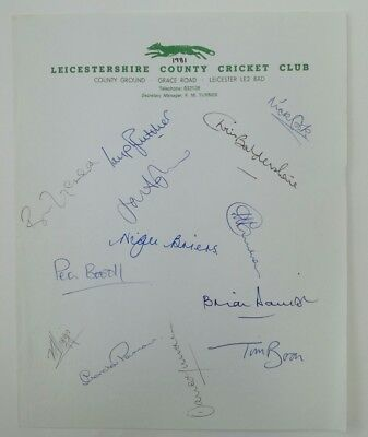 Leicestershire County Cricket Club Autographs 1981