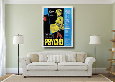 Psycho Classic Vintage Hitchcock Horror Movie Poster Wall Art BOX CANVAS Print