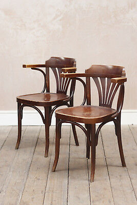 Antique Vintage Rustic Mid Century Bistro Bentwood Carver Armchairs x2