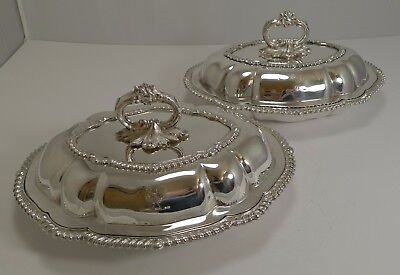 Pair Antique English Silver Plated Entree Dishes c.1890