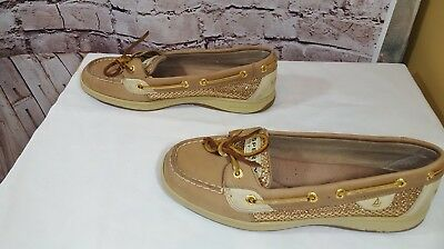 Sperry Womens Sz 8.5 Shoes Top-Sider Boat Beige Leather Gold Glitter
