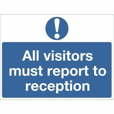 Safety Sign 450x600mm All Visitors Must Report to Reception PVC M78AR [SR71267]