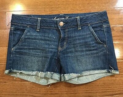 Womens Size 8 American Eagle Outfitters Denim Jean Shorts Cut Off Dark Blue
