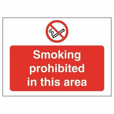Safety Sign Smoking Prohibited in This Area 450x600mm PVC P35Z/R [SR71072]