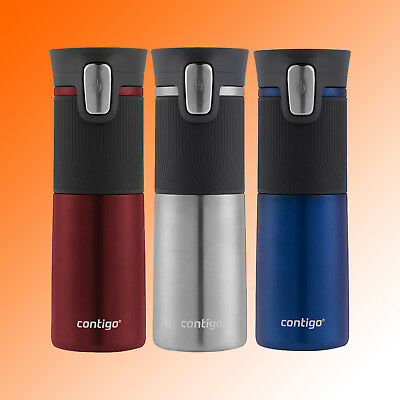 Contigo Autoseal Thermal Travel Mug Red Silver Blue 473ml 16oz