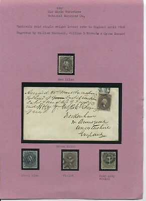 US 1861-69 24c used shade study complete with Steel gray #70b Cat $28,000