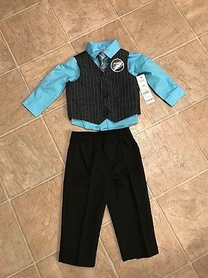 boys 4-piece suit, blue shirt, vest black with pin-stripe size 18 months George
