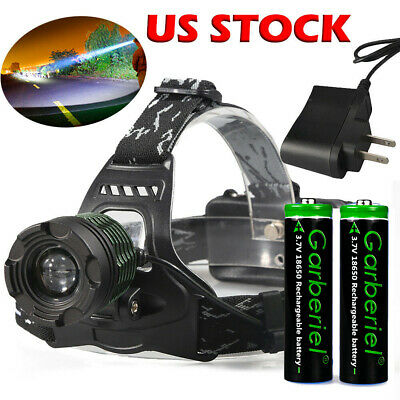 90000Lumens T6 Zoomable Focus LED Headlamp Head Light 18650 Battery+Charger USA