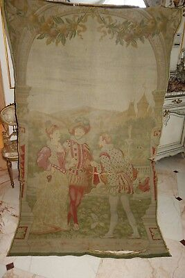 Antique French Tapestry Castle Figures Man Woman Barbola Swag Needs Work