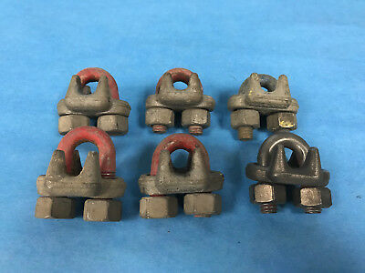 "Crosby Steel Cable Clamps 3/8"" Lot of 6"