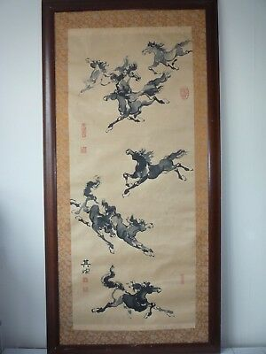 Large Chinese 8 Horses Ink & Watercolour Painting on Silk Paper - Signed Framed