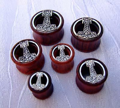 Piercing Flesh Tunnel Saddle Plug Wikinger Thors Hammer Wood Holz  8Mm - 20 Mm