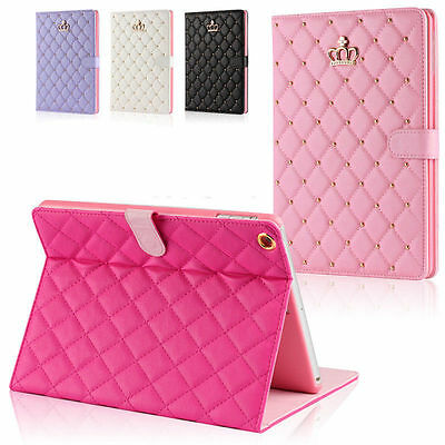 Luxury Crown Slim Smart Wake Leather Case Cover For iPad 2017 2 3 4 Mini Air