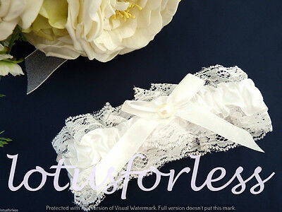 Bridal White garter with lace and pearl bead and satin bow Bridal gift