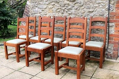 8 French Solid Oak Ladder Back Dining Chairs Bergerac Import by John Lewis