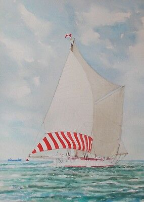 Marine watercolour, sailing ship Veronica by Harold Croucher.