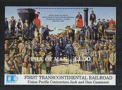 Isle of Man 1992 Transcontinental Railroad ss--Attractive Topical (518) MNH