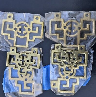 Lot Of 6 Antique/Vintage Chinese Furniture Accents Hardware Brass Oriental Asian