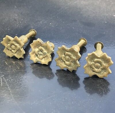 Lot of 4 Antique Vintage Small Brass Flower Drawer Pulls Cabinet Handles Knobs