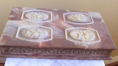 Large Genuine Incolay Stone Jeweley Dresser Box Handcrafted