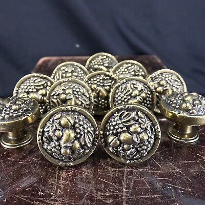 12 Amerock Vintage Cabinet Drawer Pulls Knobs Brass Raised Fruit