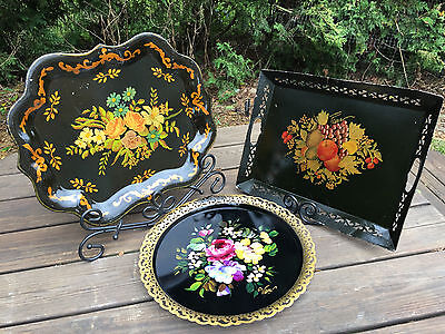 Lot Of Three Large Antique / Vintage  Early Toleware Floral Serving Trays -
