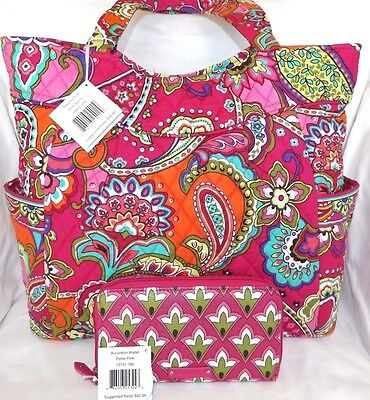 Vera Bradley Pleated Tote Bag - Pink Swirls & Matching Pvc Wallet - New With Tag
