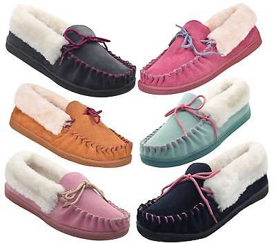 New Womens Suede Moccasin Faux Fur Lined Soft Warm Slippers Mules Indoor Shoes