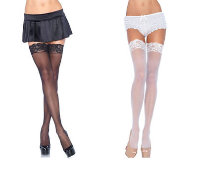 Women's PLUS SIZE Sheer Black White Thigh High Stockings Lace Top 1011Q