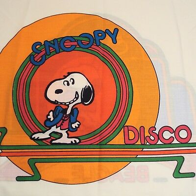 Vintage Snoopy Pillowcase Disco Saturday Night Beagle Peanuts Bedding Fabric
