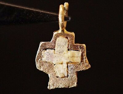 Ancient Viking Solid GOLD CROSS. Norse Mosaic Stone Amulet, c 950-1000 AD. Rare
