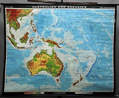 geographical school wall chart, map, Australia and Oceania, physical view