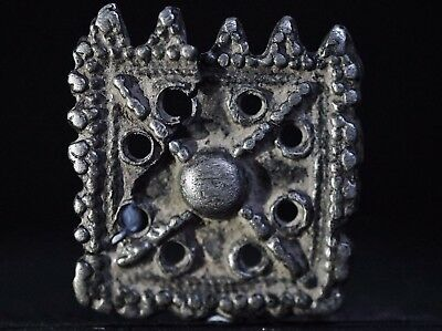 Ancient Viking Hammered Silver Amulet. Pendant of Norse Cross, circa 950-1000 AD
