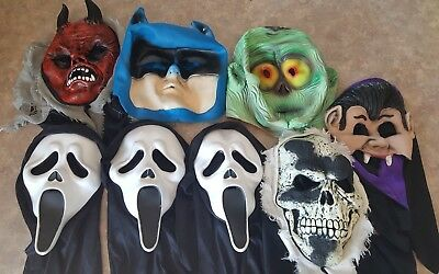 Halloween Mask LOT of 8 Adult Kids Devil, Skull, Scream Scary Ghost, Dracula