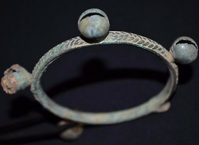 The Vikings. Ancient Norse Knot Bracelet. Rare Bronze Bell Bangle, c 950-1100 AD