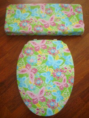 Paisley Moda Butterfly Pink Green Bathroom Toilet Seat & Tank Lid Cover Set