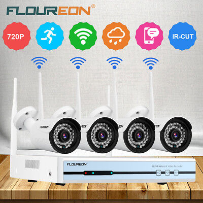 4CH 1080P Wireless Wifi NVR DVR WLAN IP Kamera Funk Video Überwachungssystem Set
