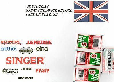 10 X SINGER SEWING MACHINE NEEDLES 2020/705/130R/15X1 +  FREE THREADER n/290v