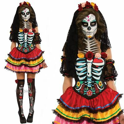 New Ladies Day of the Dead Senorita Fancy Dress Halloween Skeleton Women Costume
