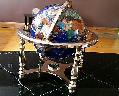 Semi Precious Stone Globe Lapsis Ocean, Solid Brass Base With Compass 36cm High