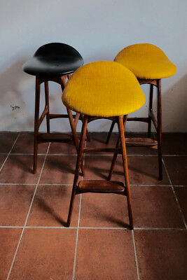 Erik Buch Mid Century Danish Bar Stools (3) Teak and Rosewood