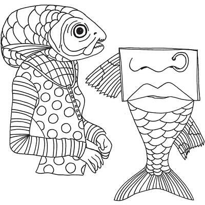 Dylusions Cling Rubber Stamps - Fish Face - NEW!